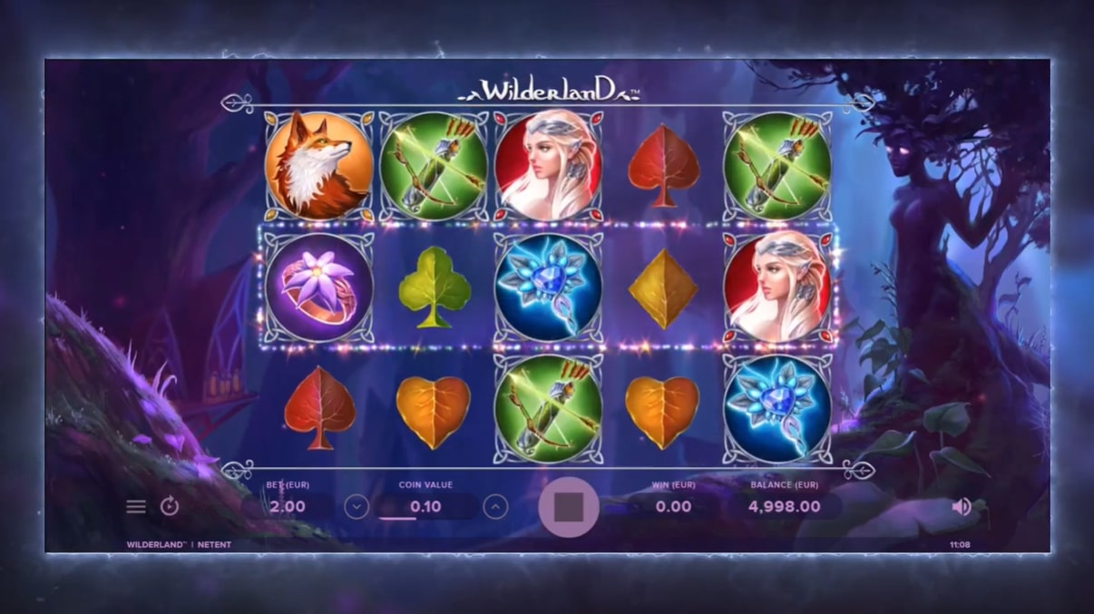 Wilderland slot screenshot with fantastical creatures such as elves
