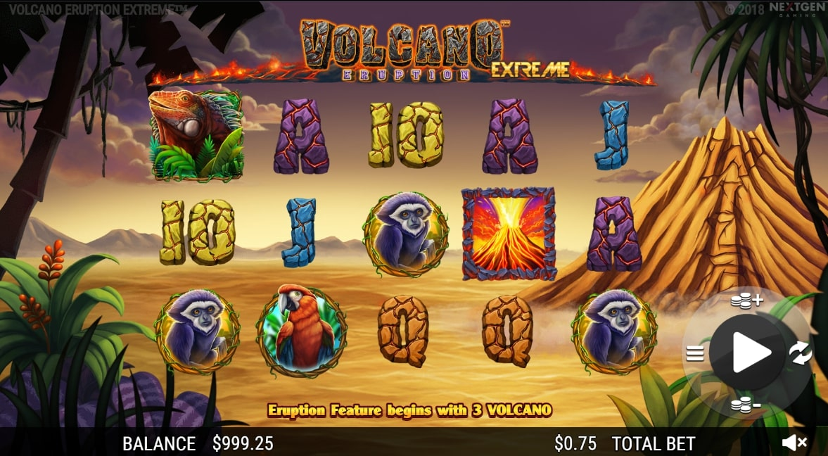 Volcano Eruption Extreme slot screenshot with a volcano in the background
