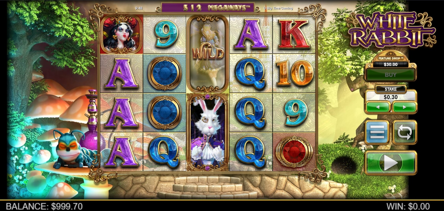 White Rabbit slot screenshot with Alice in Wonderlands characters and colorful graphics