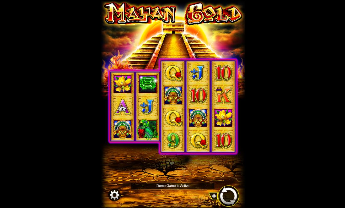 Mayan Gold slot screenshot with a Mayan temple on the background