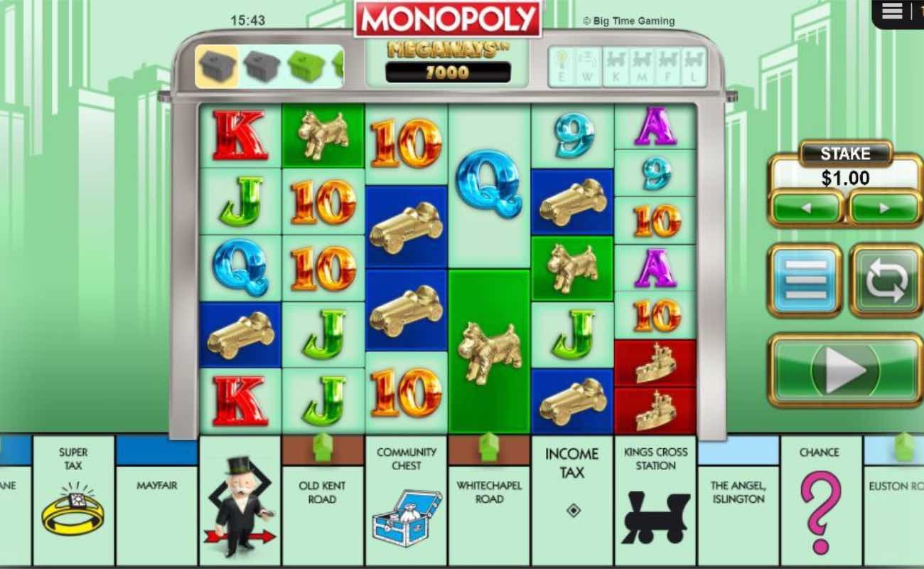 Online casino slots game Monopoly Megaways by NYX