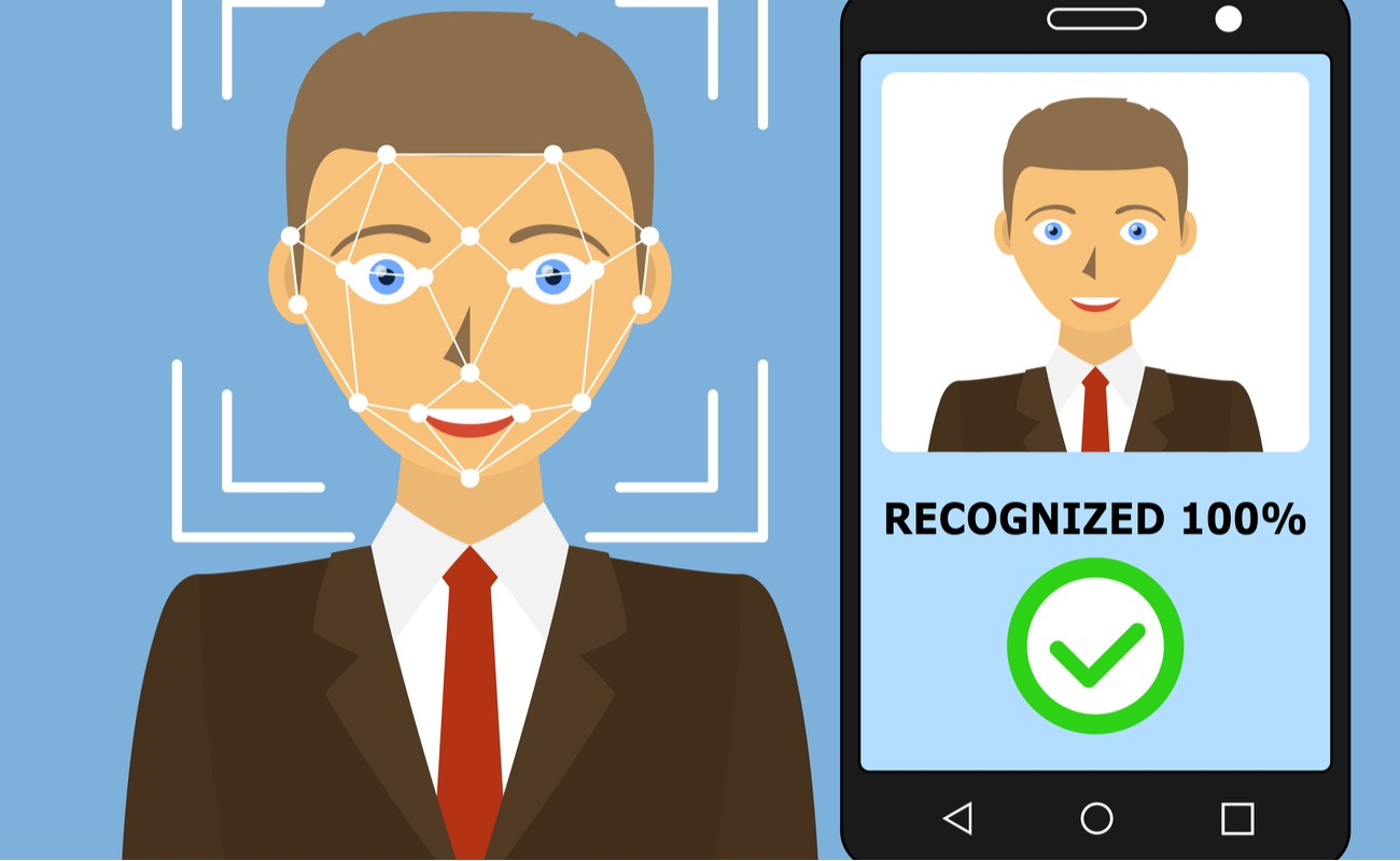 Vector illustration of Mobile app for facial recognition