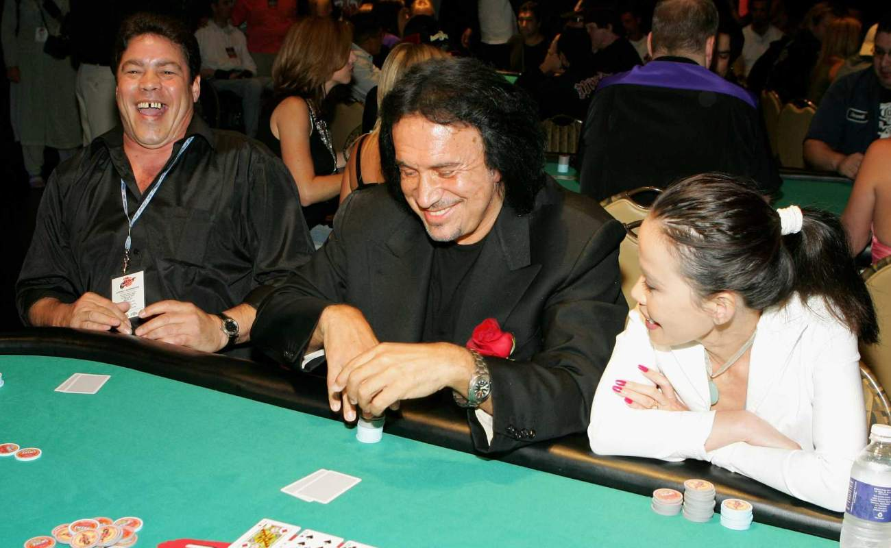 Gene Simmons playing at poker table
