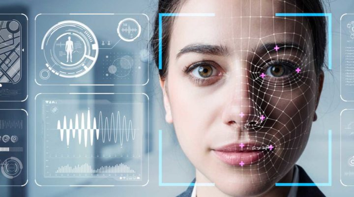 Authentication by facial recognition security system concept