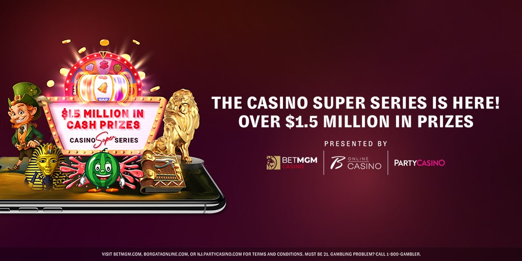 Casino Super Million with slots logos on the left and MGM Casino logos on the right