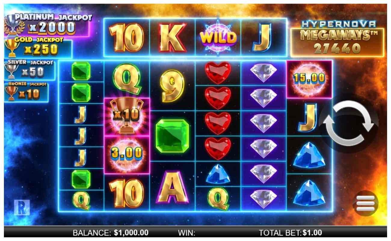 Hypernova Megaways online slot casino game by NYX