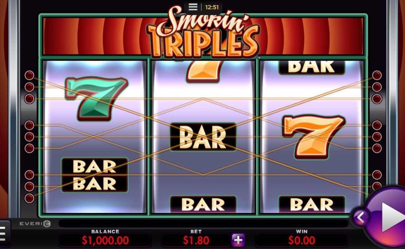 Smokin' Triples online slot casino game by Everi