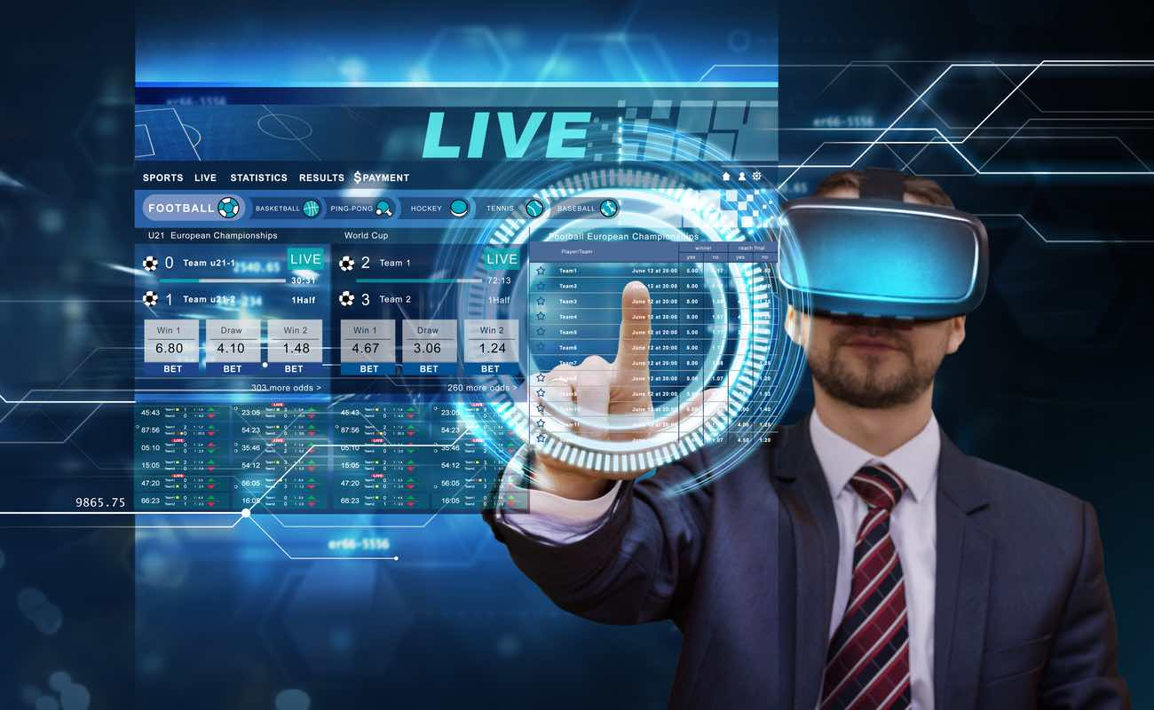 Futuristic gambling concept featuring front view of a man wearing vr glasses placing bets online virtual digital sensor screen