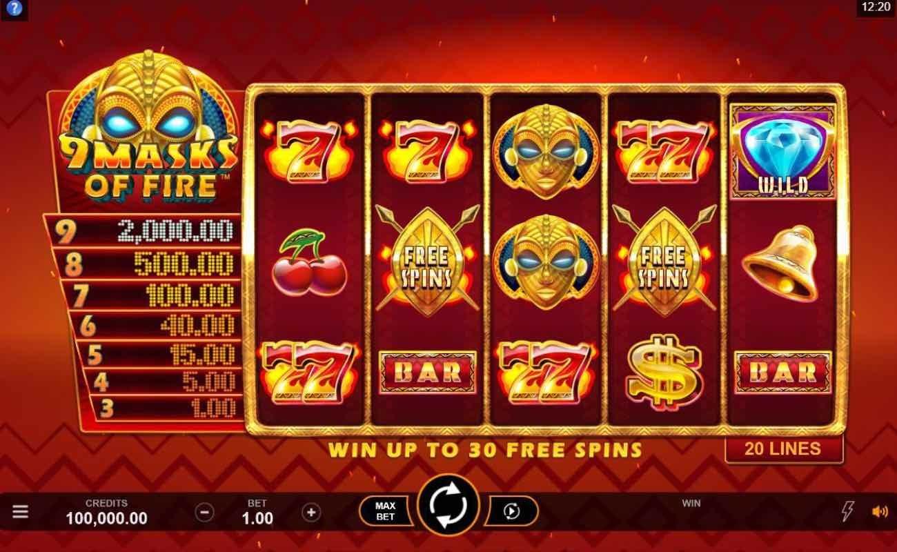 Screenshot of 9 Masks of Fire online slot casino game