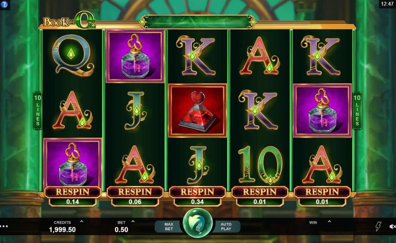 Book of Oz by Microgaming online slot casino game