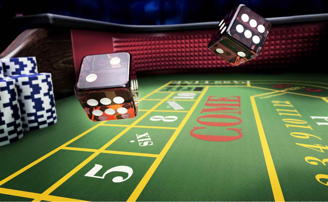 3D rendering of dices thrown on online craps table casino game