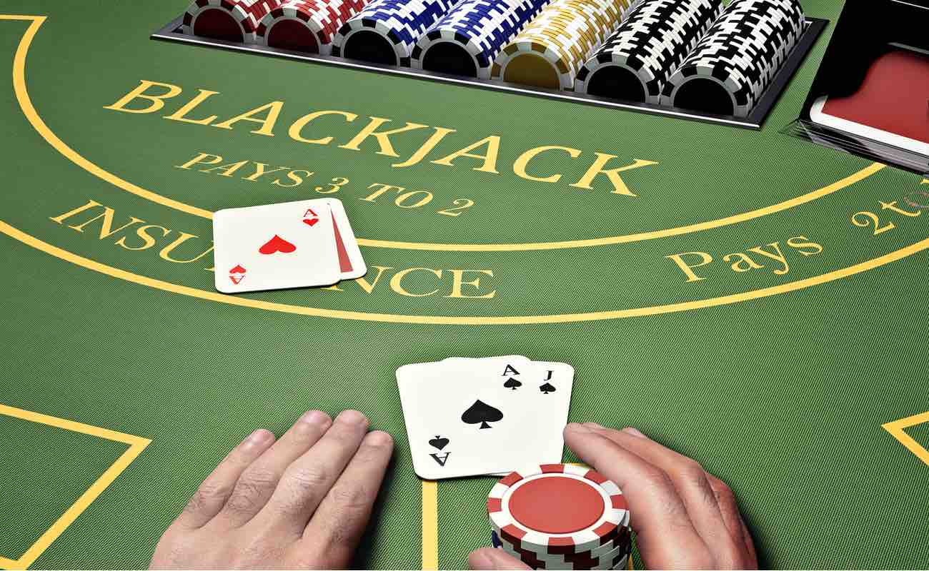 Online casino player at blackjack table