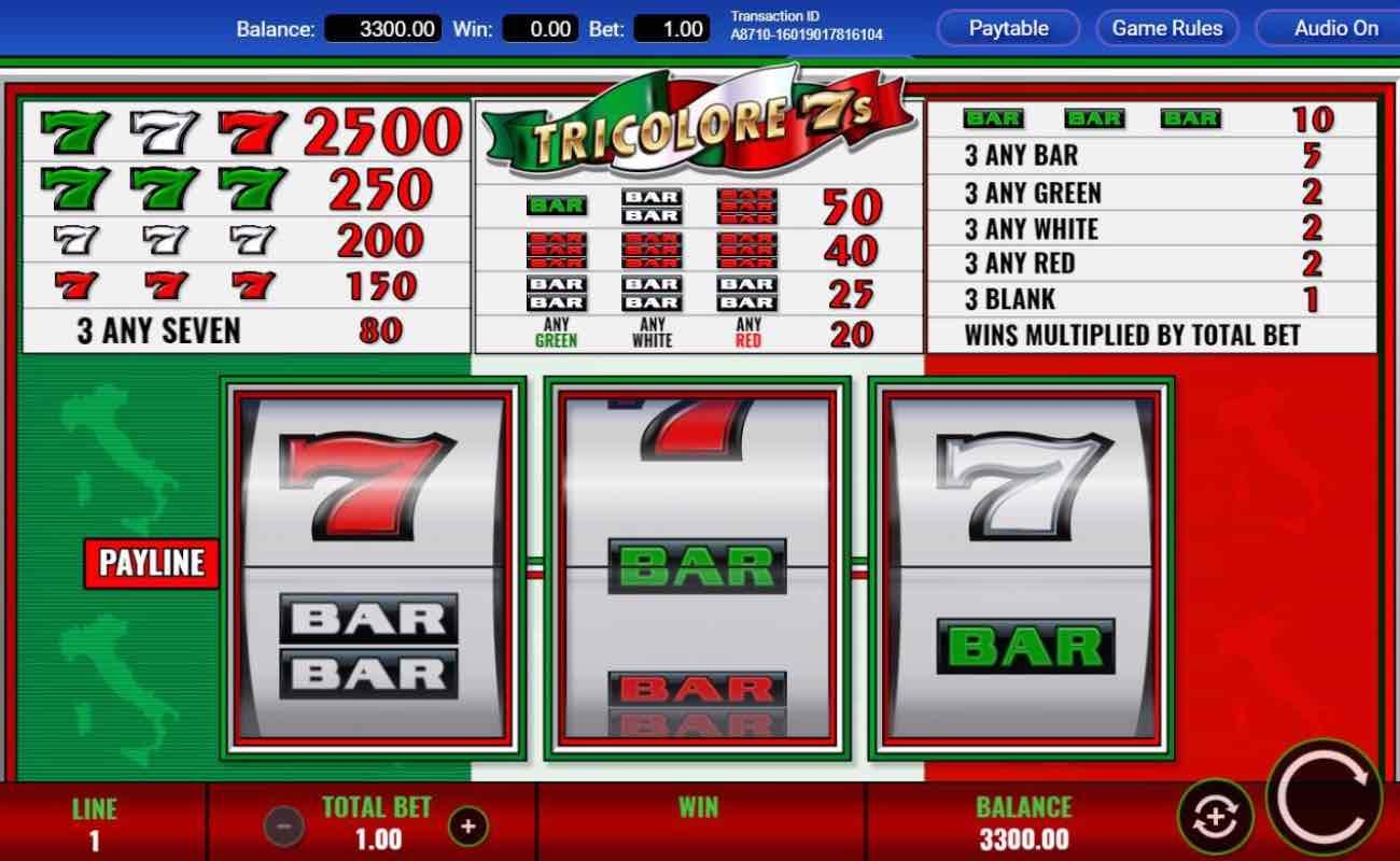 Tricolore 7s online slot casino game by IGT
