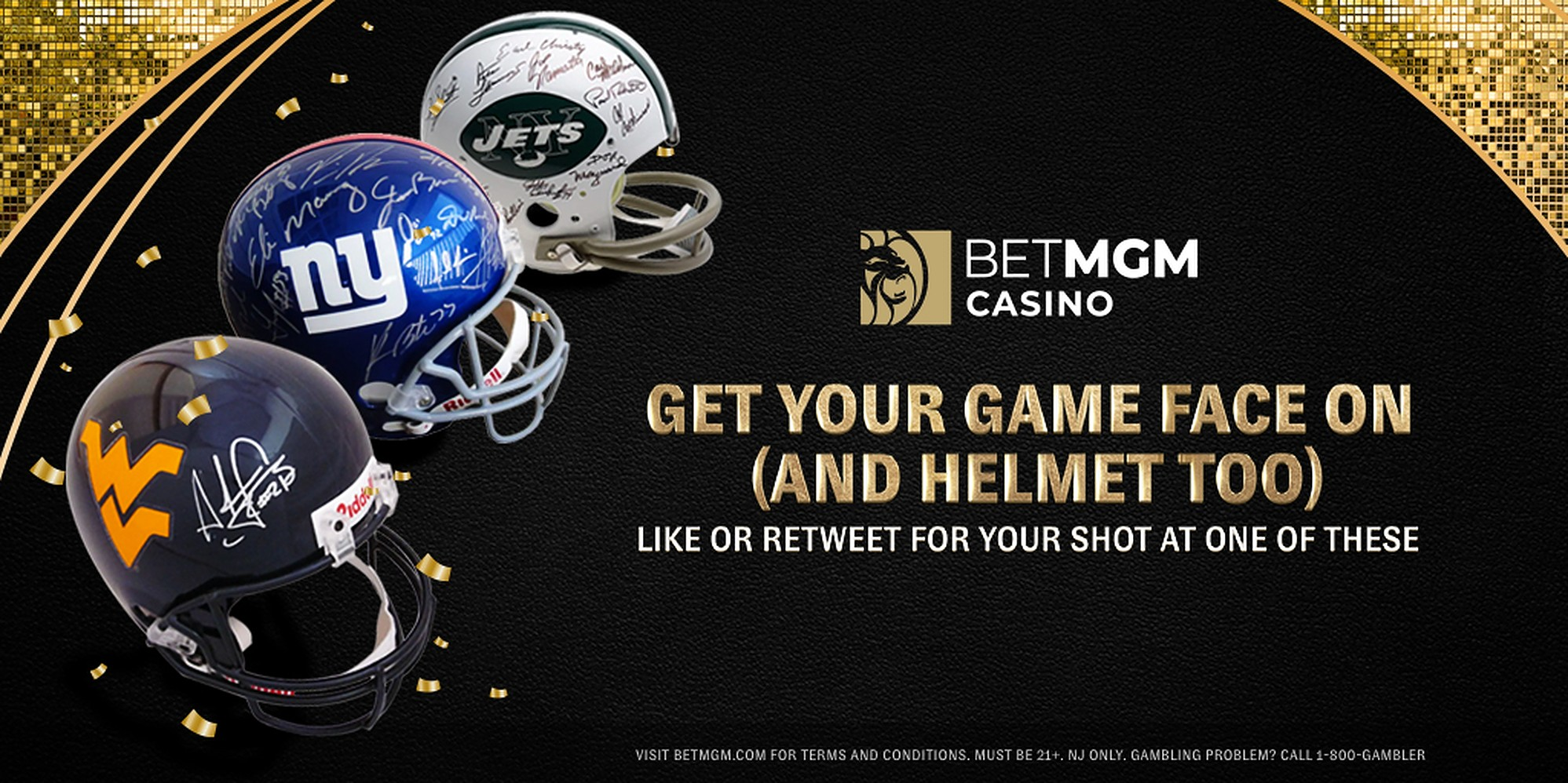 New York Giants, New York Jets, and WVU Helmets Next to a BetMGM Logo and Giveaway Details