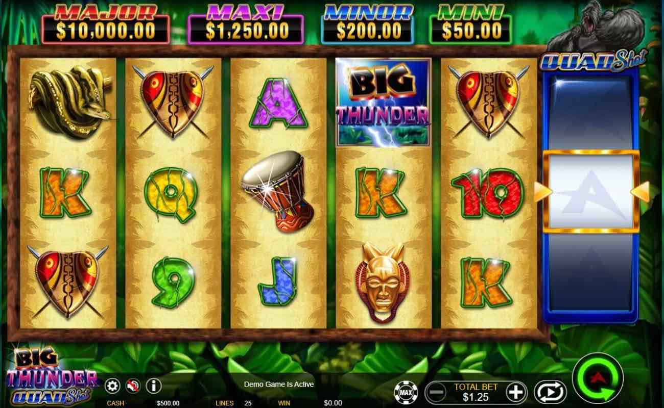 Big Thunder Quad Shot online slot casino game by Ainsworth