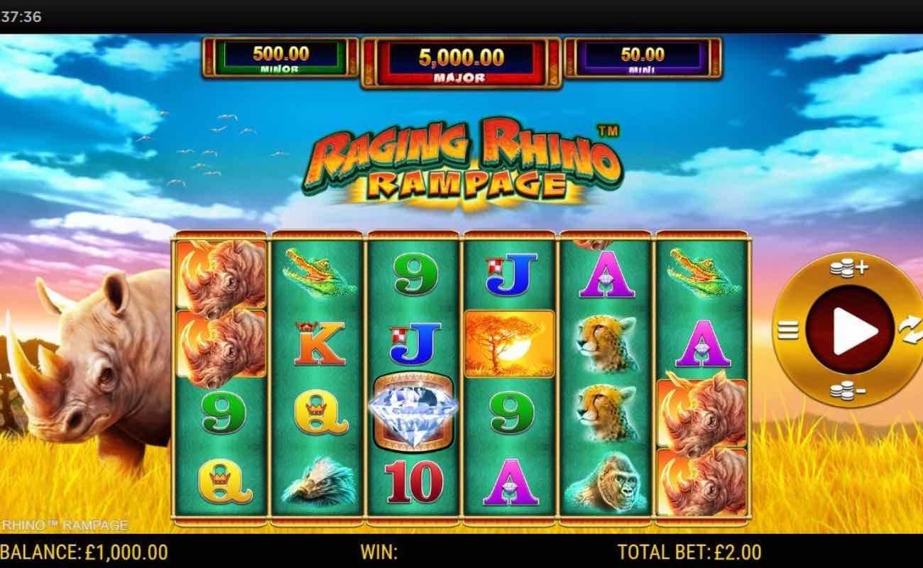 Raging Rhino Rampage online casino slot game by NYX
