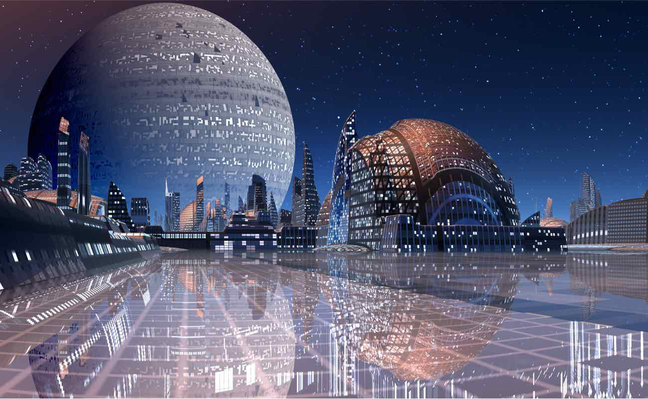 Futuristic cityscape at night with dome-like building in foreground