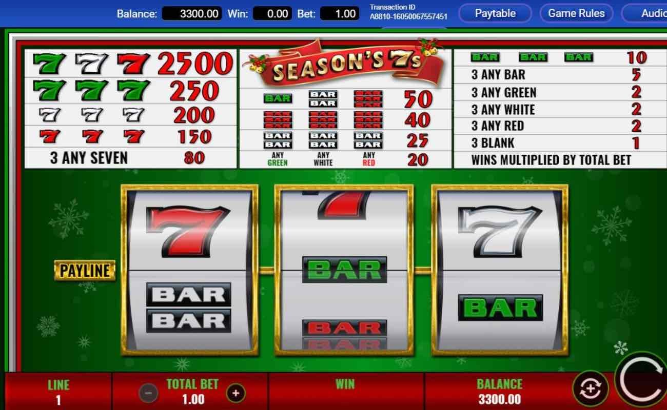 Season's 7s online slot casino game by IGT