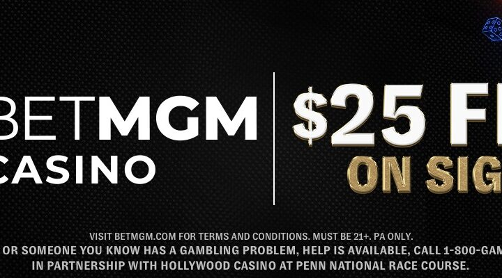 BetMGM Casino logo and a sign up offer on a dark background