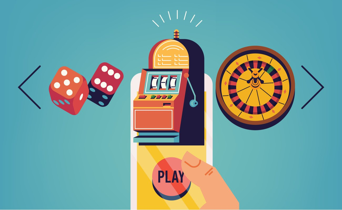 Vector concept design on mobile gambling application with hand holding smartphone choosing between slot, roulette and dice games.