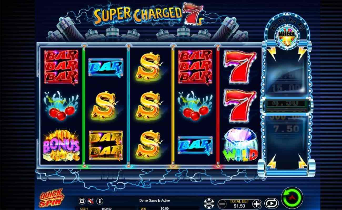 Super Charged 7's online slots game by Ainsworth