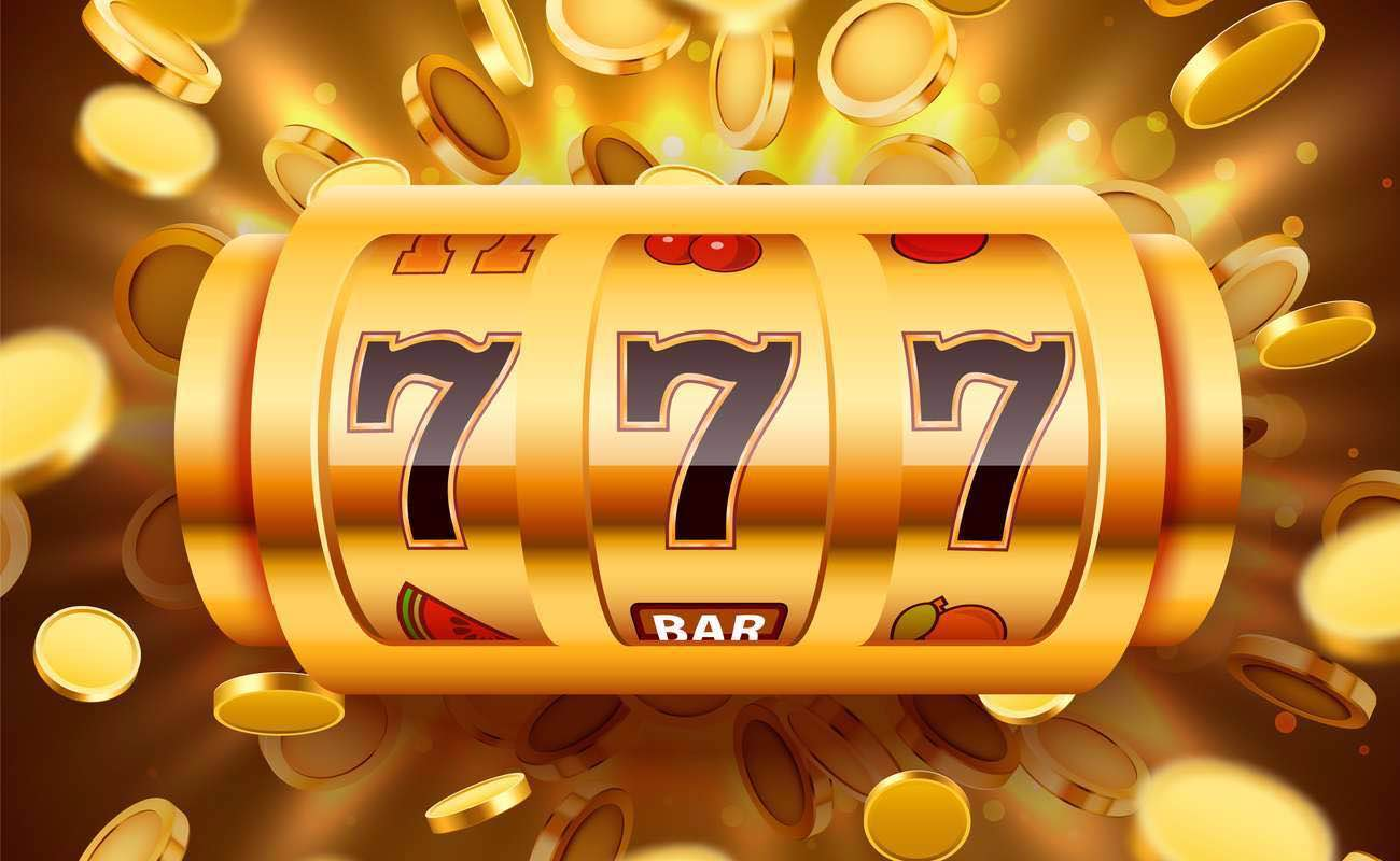 Golden online slots reels with lucky number 7s and gold coins in the background