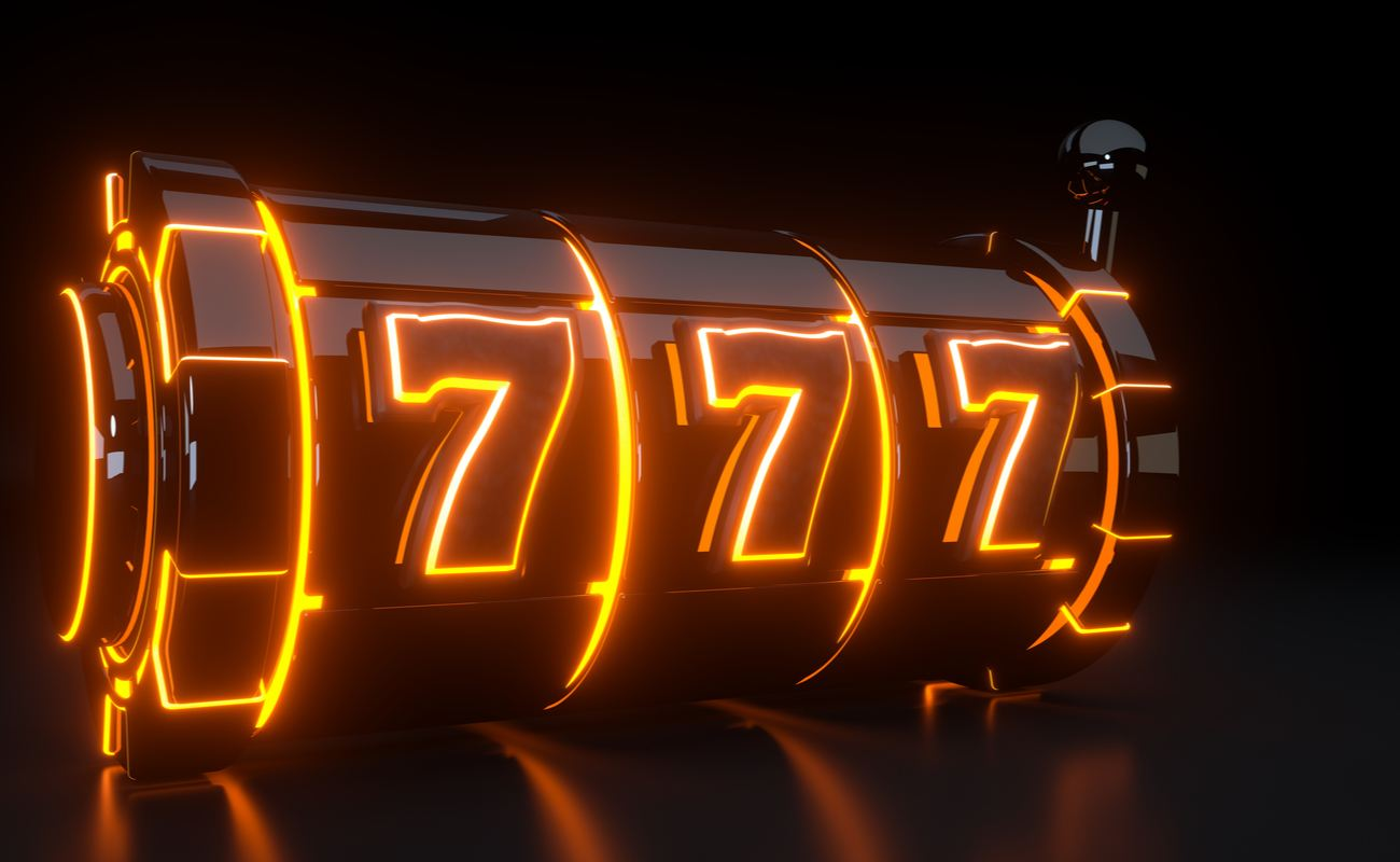 Black slots reels with orange lit up lucky number 7s