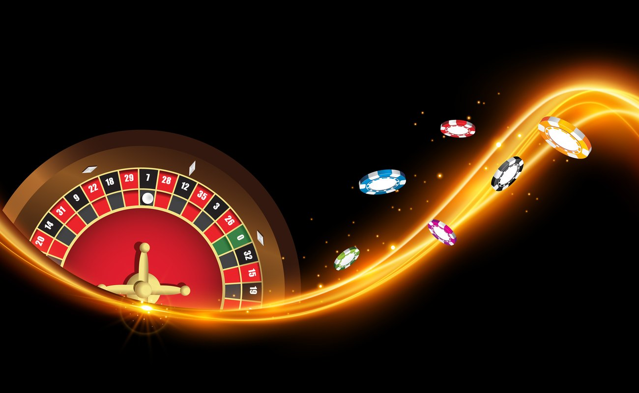 Roulette wheel with golden trail of light and gaming chips along it