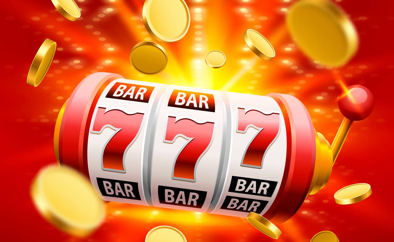 Red online slots reels with lucky number 7s and gold coins in the background