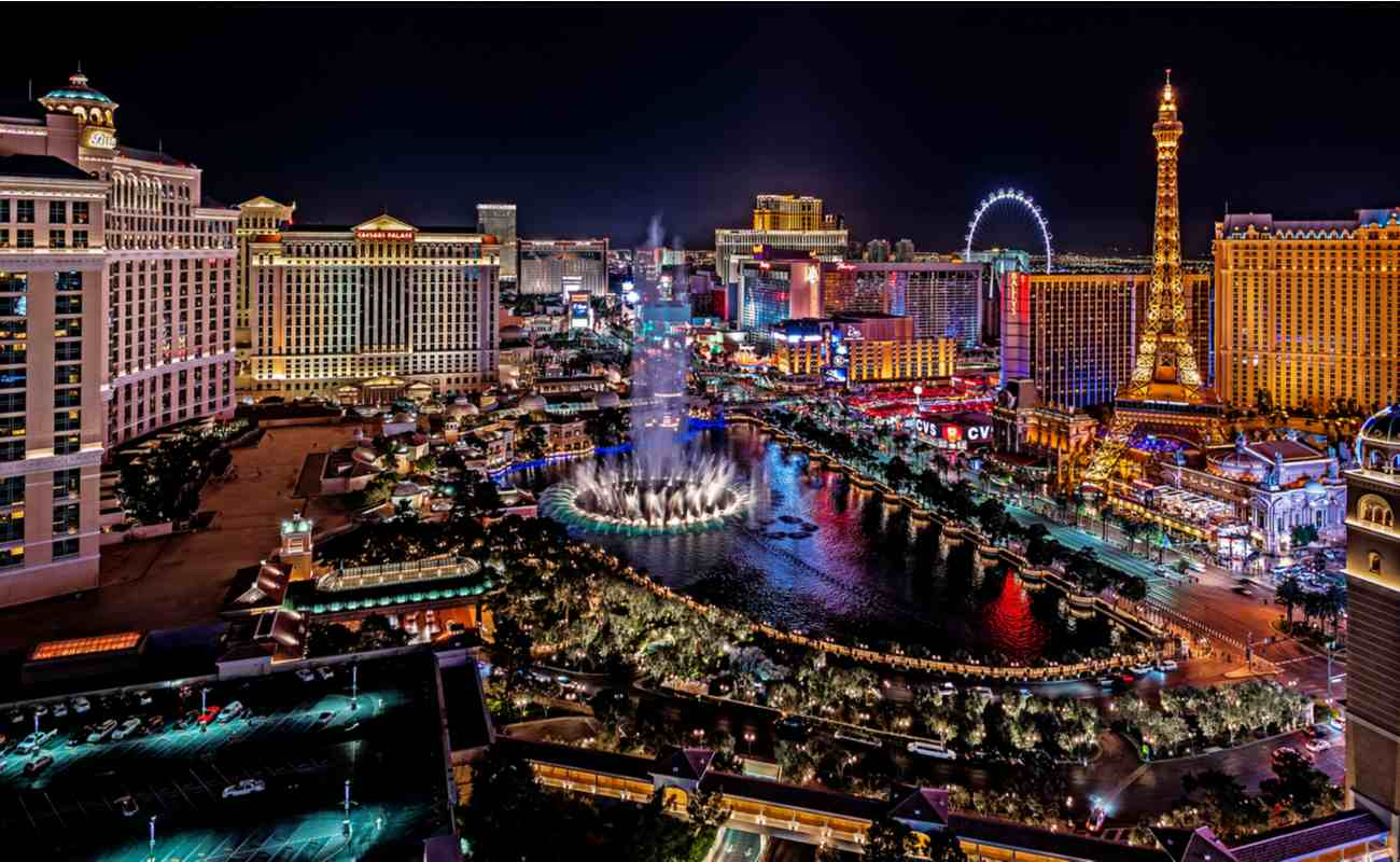 View of the Las Vegas Strip at nighttime.