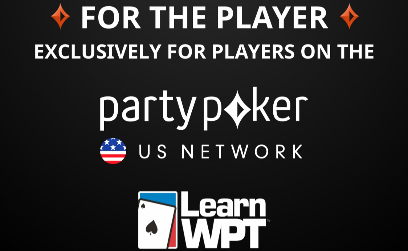 "partypoker US network logo between the LearnWPT logo and the text "" For The Player - Exclusively for players on the partypoker US network"" on a black background"