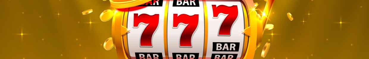 A Slots Bar with 777 in the Reels and a Gold Background