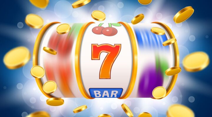 A stylized illustration of a spinning slot reel showing the number seven and gold coins flying out.