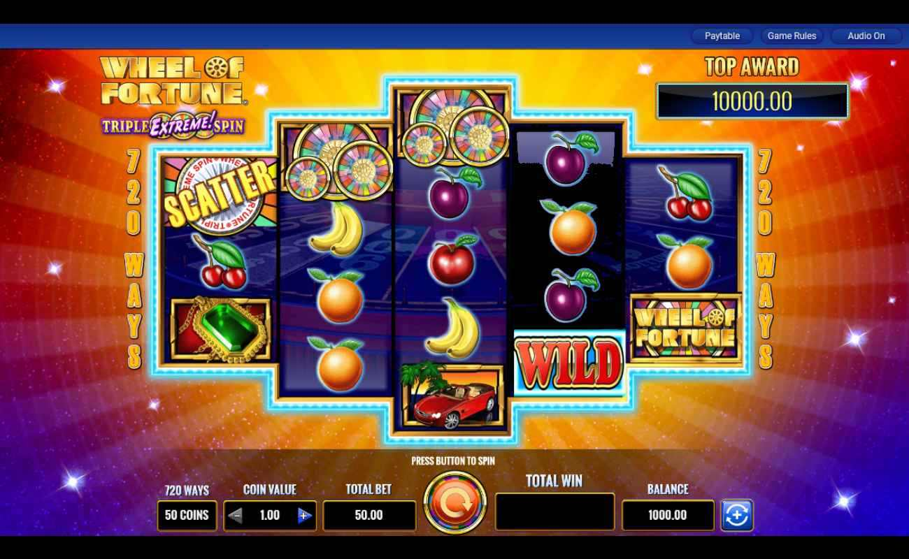 The Wheel of Fortune Triple Extreme reel during regular play.