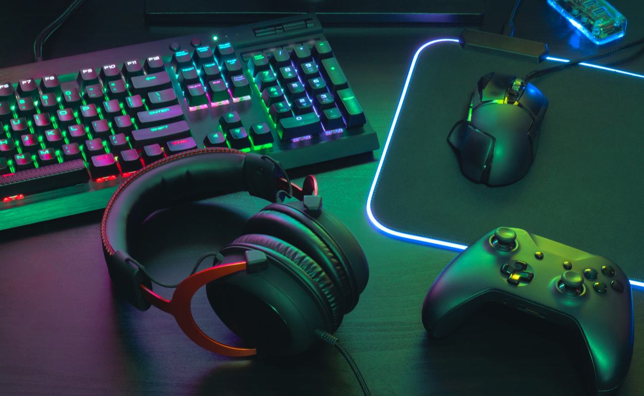 A gaming keyboard and mouse with RGB lighting.