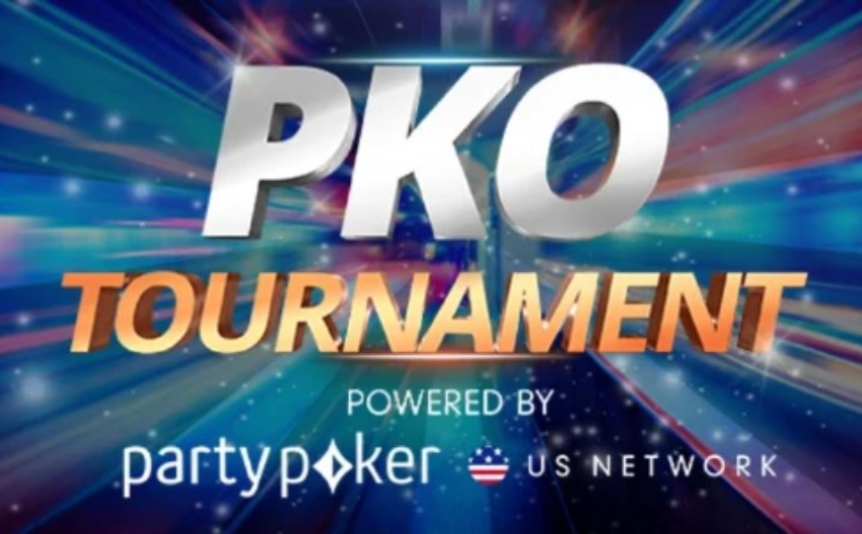 Progressive Knockout Bounty Online Series logo over the party poker network logo on a colorful background