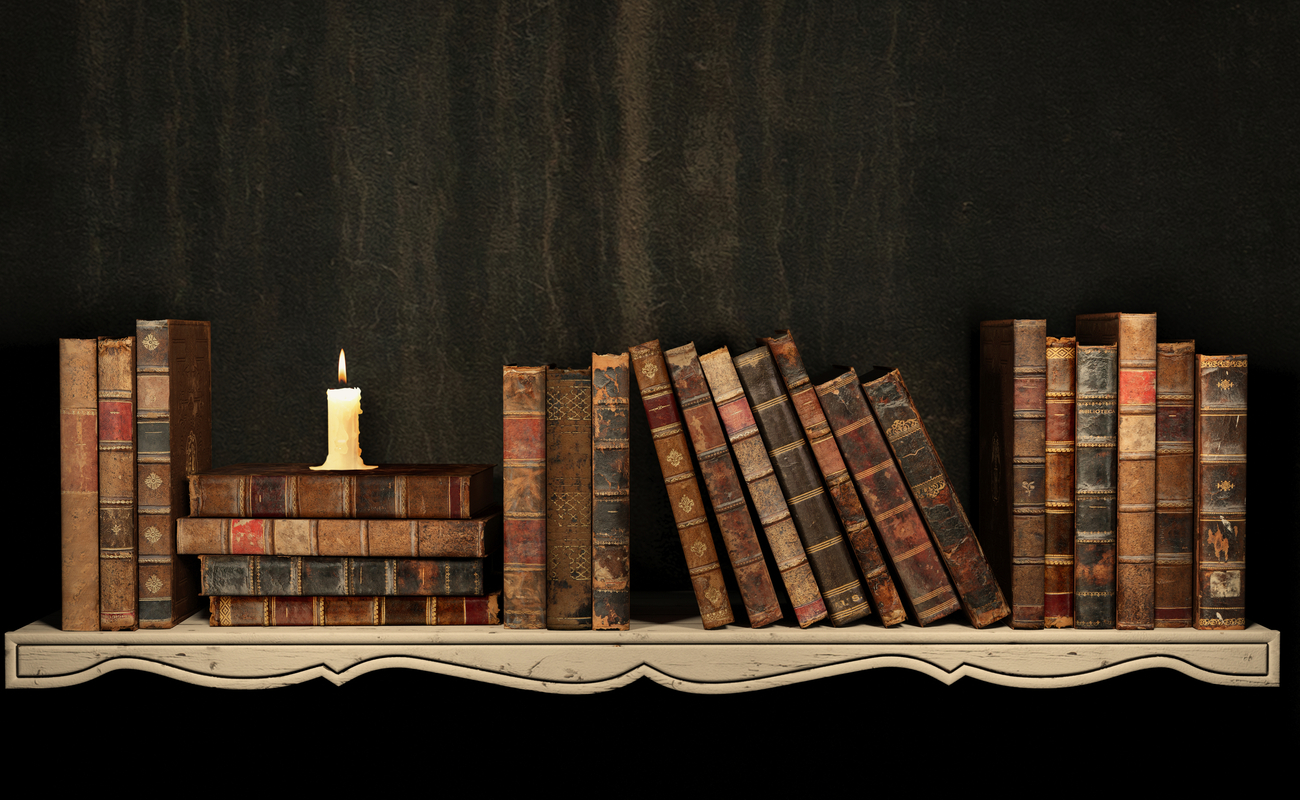 Shelf stacked with old books and a candle.