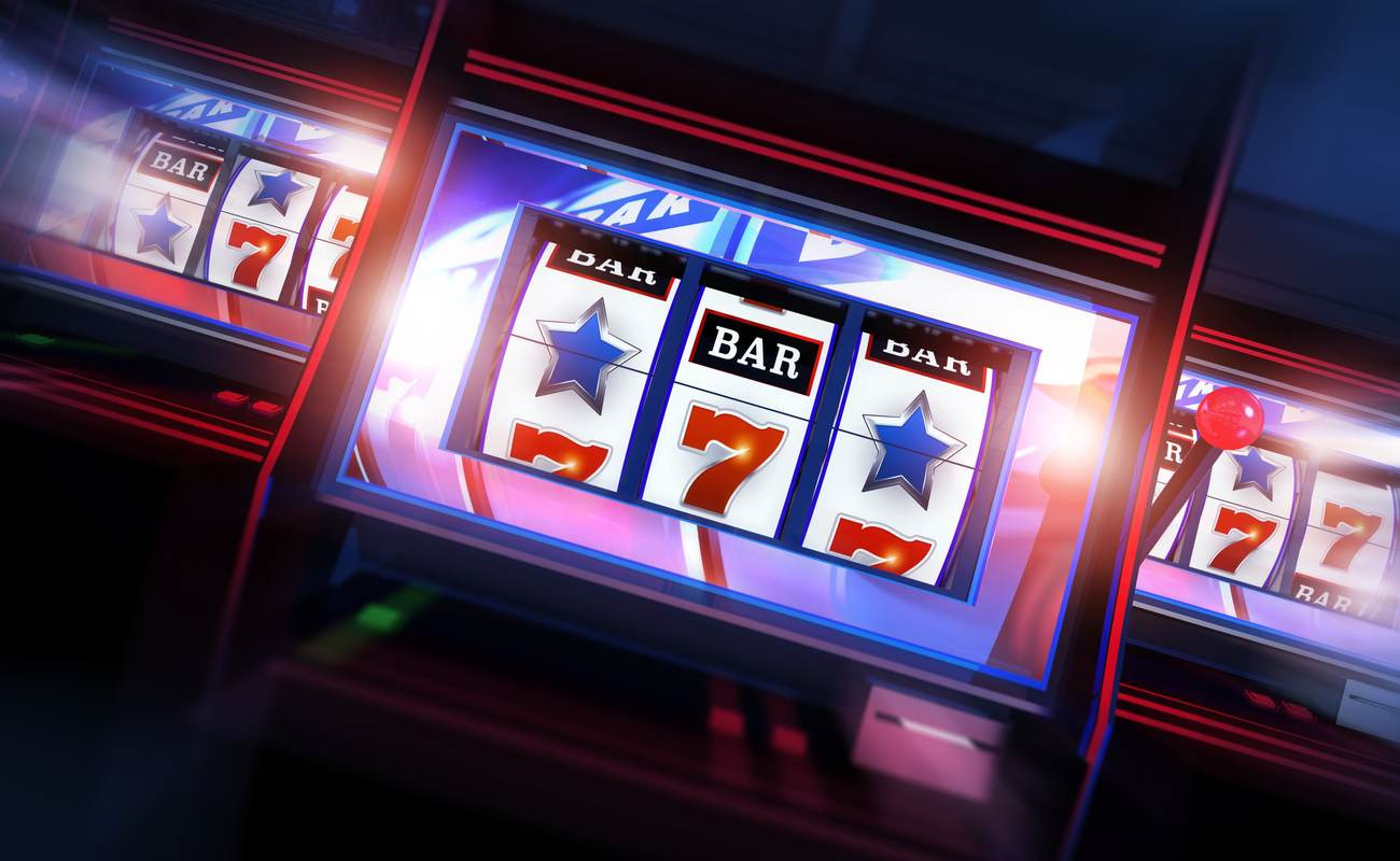 A stylized rendering of three slot machines.