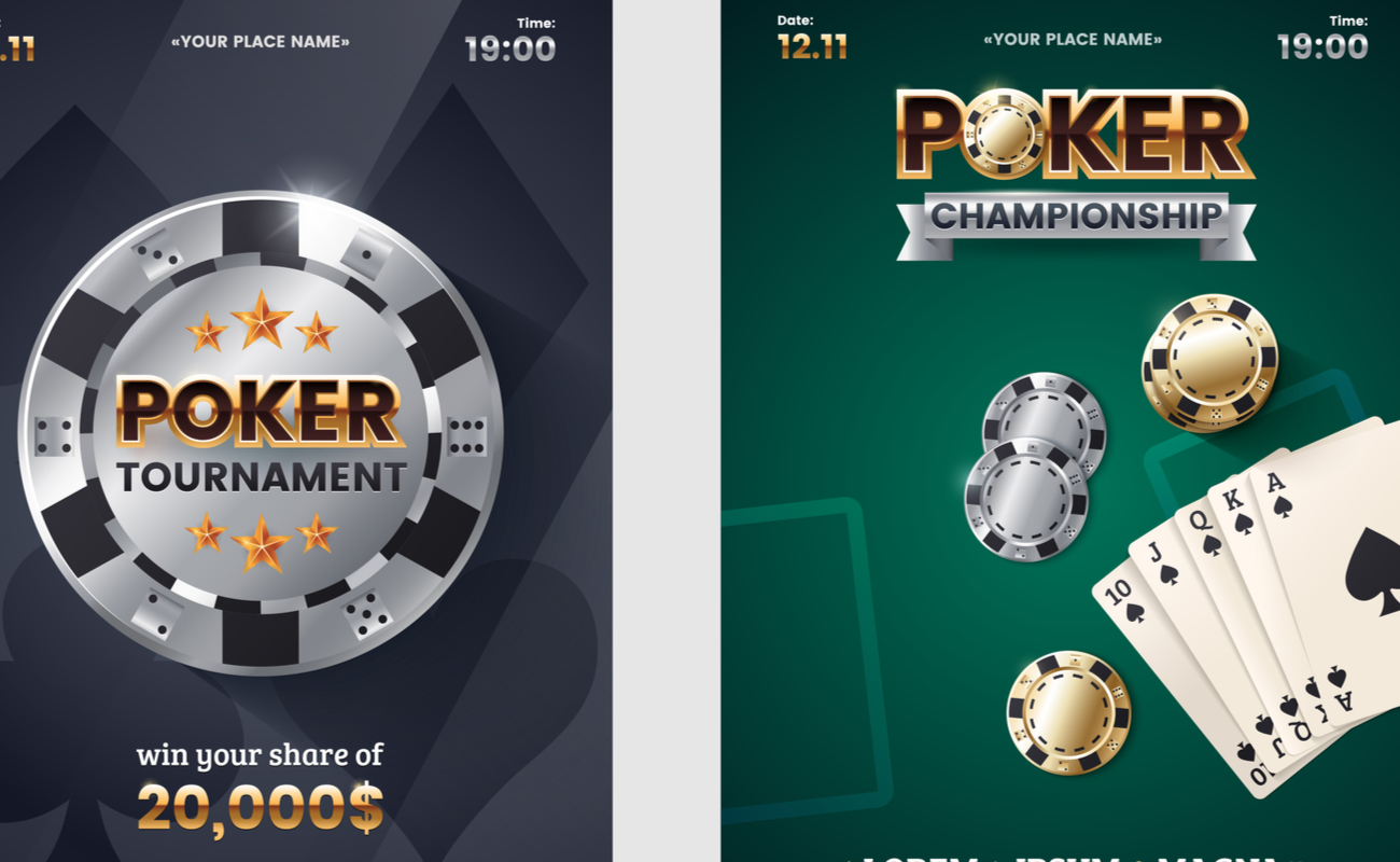 Two posters for online poker championships and tournaments.