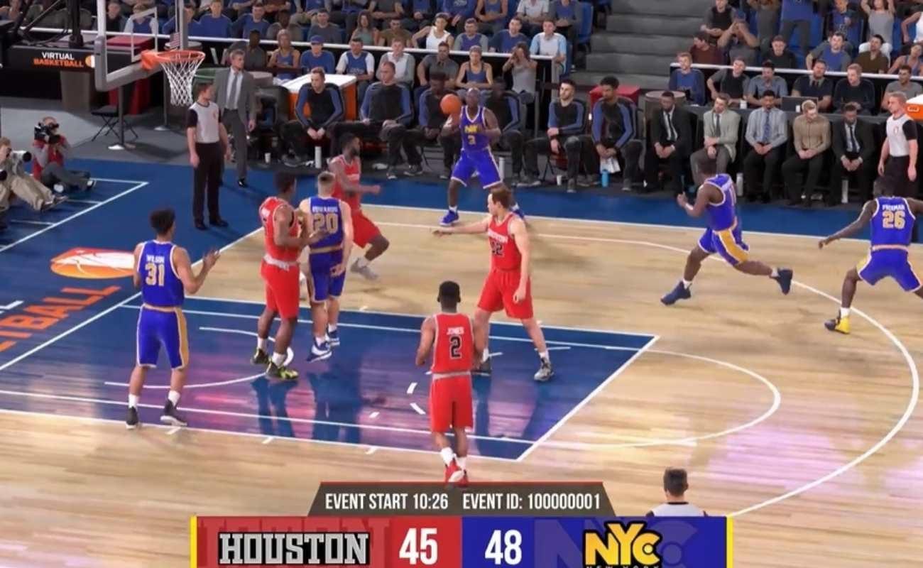 Screenshot of a Virtual Basketball game by Virtual Inspired.