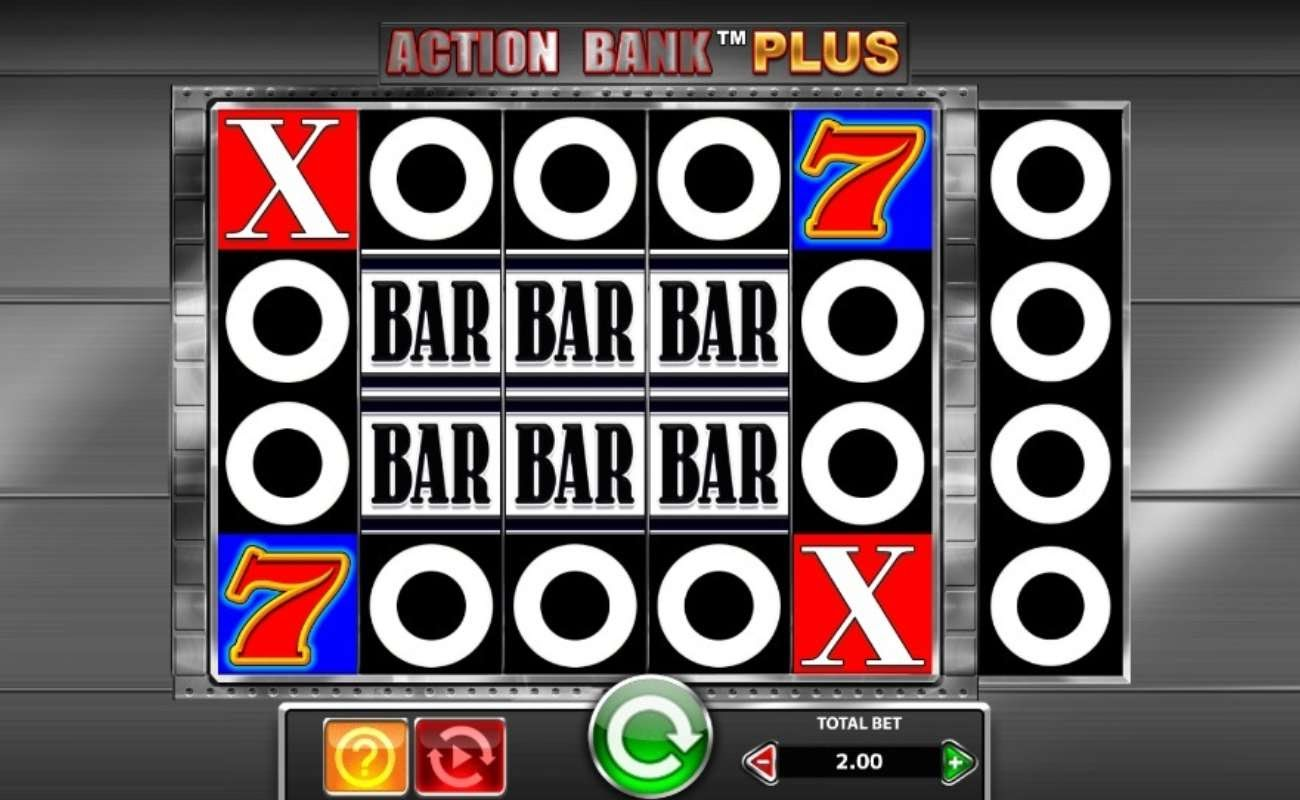 Screenshot of the reels in Action Bank Plus, an online slot by SG Digital.