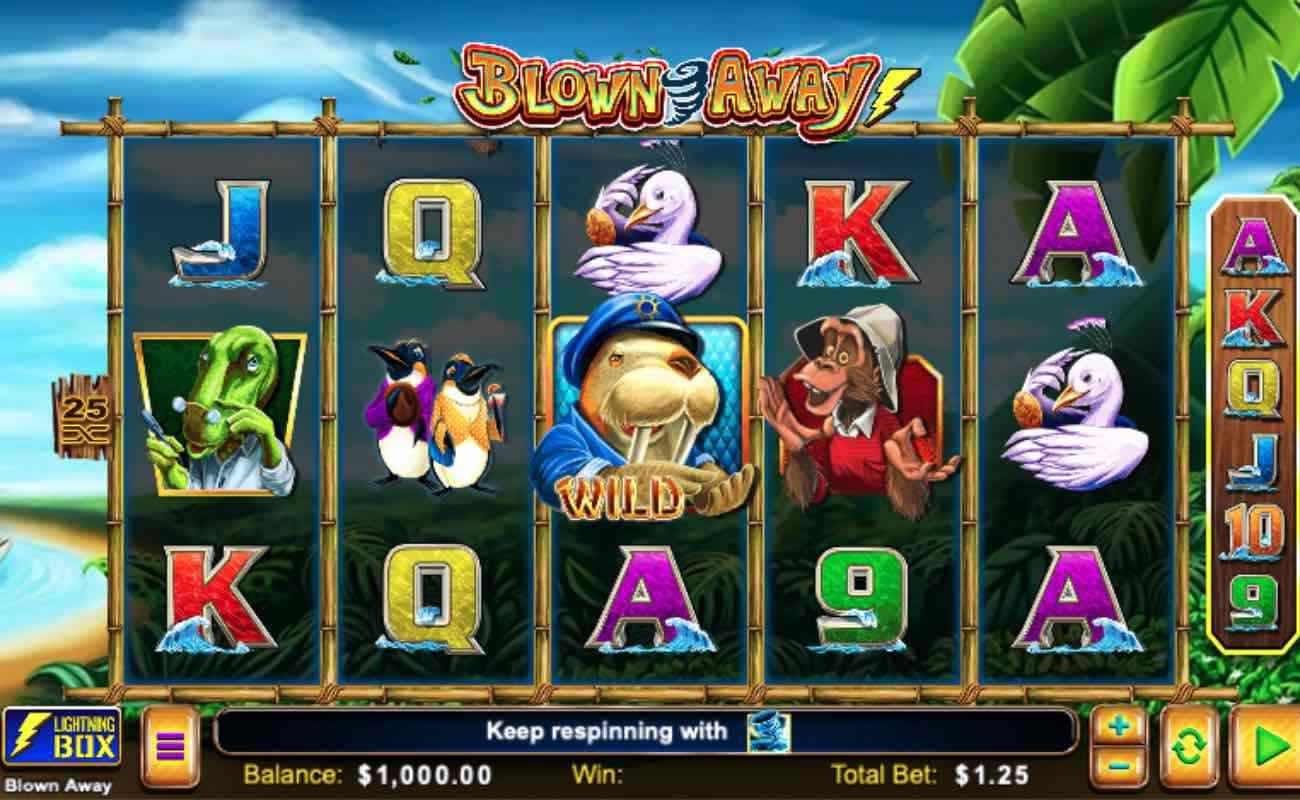 Screenshot of the reels in Blown Away, an online slot by SG Digital.