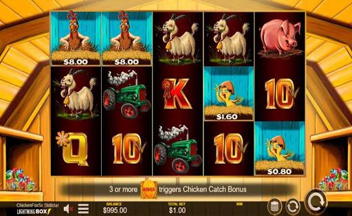 Screenshot of the reels in Chicken Fox 5x Skillstar, an online slot by Lightning Box.