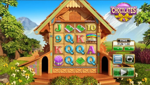Screenshot of the reels in Chocolates, an online slot by NYX/BTG.