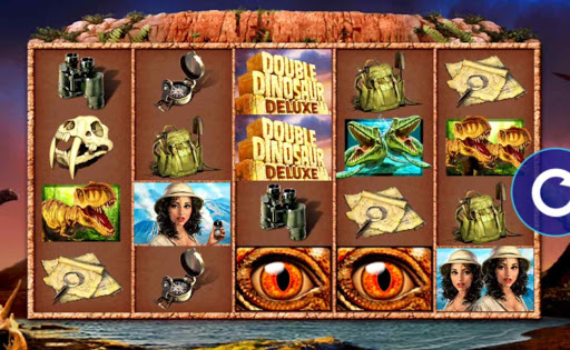 Screenshot of the reels in Double Dinosaur Deluxe, an online slot by High 5 Games.