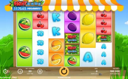 Screenshot of the reels in Fruit Shop Megaways, an online slot by NetEnt.