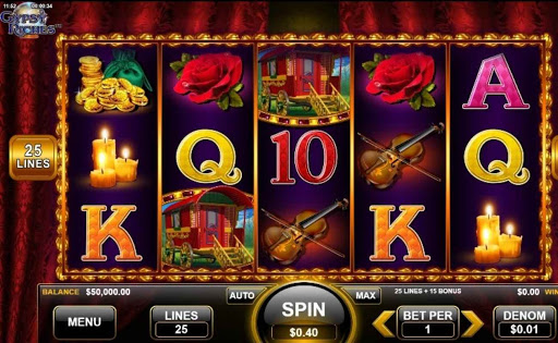 Screenshot of the reels in Gypsy Riches, an online slot by Wild Streak Gaming.