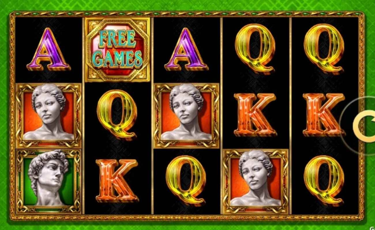 Screenshot of the reels in Michelangelo, an online slot by High 5 Games.