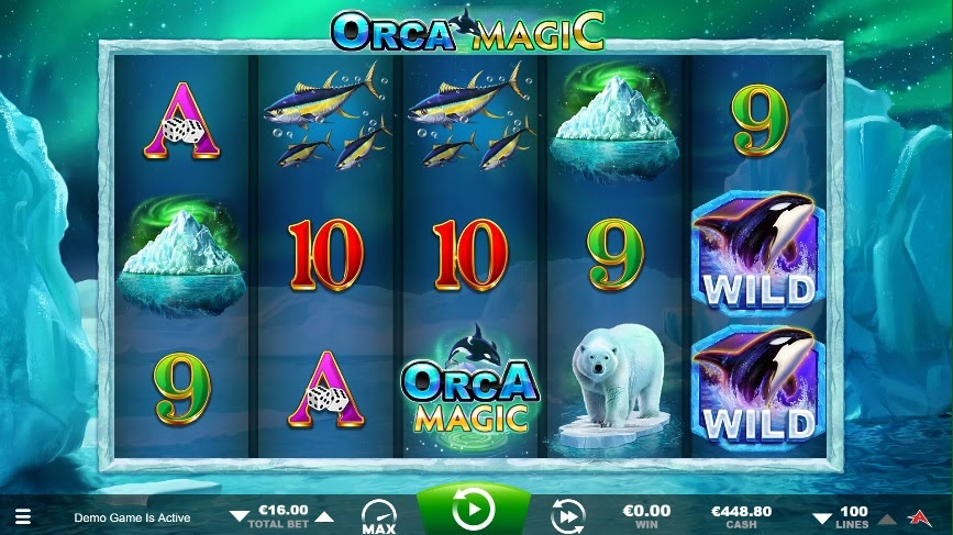Screenshot of the reels in Orca Magic, an online slot by Ainsworth.