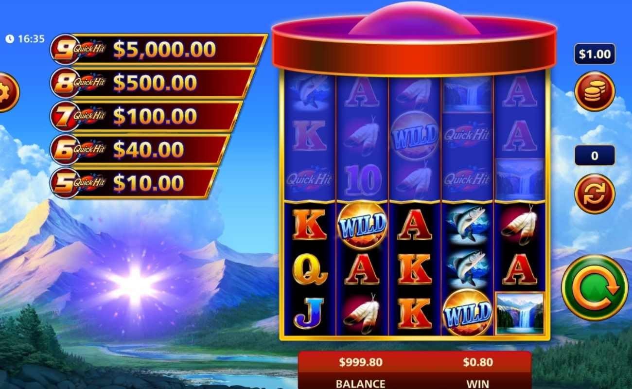 Screenshot of the reels in Quick Hit Ultra Pays Eagle Peak, an online slot by SG Digital.